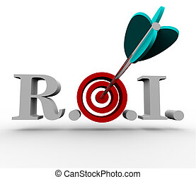 The acronymn ROI, meaning Return on Investment, with an arrow hitting a bullseye in the middle