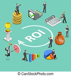 Return on investment flat isometric vector concept