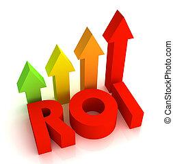 return on investment - roi 3d illustration