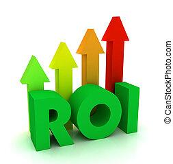 return on investment roi concept 3d illustration