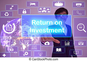 Return on Investment  (ROI) concept  presented by  businessman touching on  virtual  screen ,image element furnished by NASA