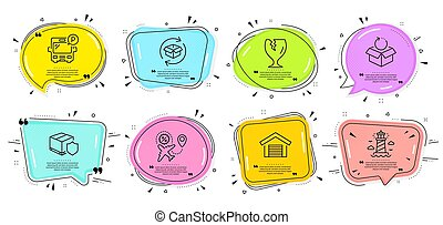 Return parcel, Bus parking and Delivery insurance icons set. Vector