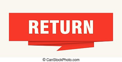 return sign. return paper origami speech bubble. return tag....