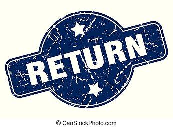return sign - return vintage round isolated stamp