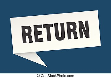 return speech bubble. return sign. return banner