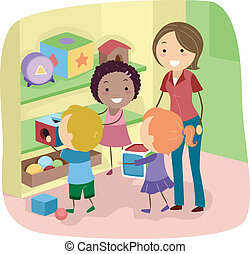 Returning Toys - Illustration of Preschool Kids organizing...