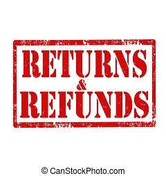 Returns & Refunds-stamp - Grunge rubber stamp with text...