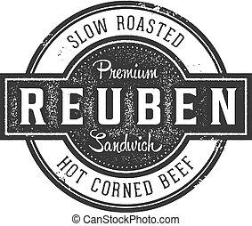 reuben, deli sandwich, weinlese, zeichen
