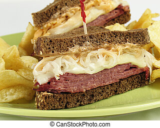 Reuben Halves - Reuben sandwich with corned beef, melted ...
