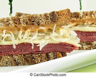 Reuben on Marble Rye - Reuben sandwich with corned beef, ...