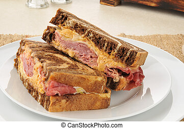 Reuben sandwich on marbled rye bread