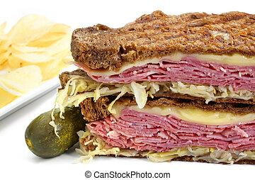Reuben Sandwich - Reuben sandwich, with pastrami, sauerkraut...