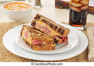 Reuben sandwich with tomato bisque
