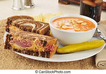 Reuben with tomato soup