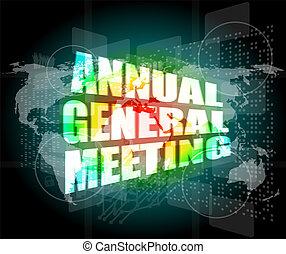 reunião anual general, palavra, ligado, digital, tela toque