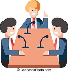 reunião, apartamento, ilustração