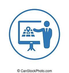 reunião, apresentação, azul, treinamento, conferência negócio, localização, versão, ícone