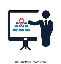 reunião, apresentação, conferência negócio, localização, treinamento, ícone