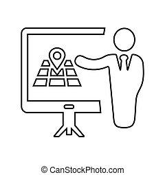 reunião, apresentação, esboço, conferência negócio, localização, treinamento, ícone