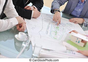 reunião, arquiteta, equipe negócio