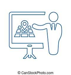 reunião, azul, apresentação, esboço, conferência negócio, localização, treinamento, ícone