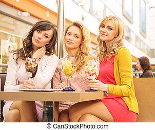reunião, bonito, mulheres