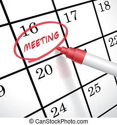 reunião, círculo, palavra, calendário, marcado