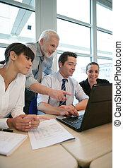 reunião, colegas trabalho, negócio