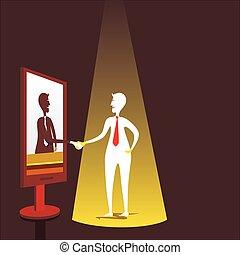 reunião, conceito, desenho, homens negócios, virtual