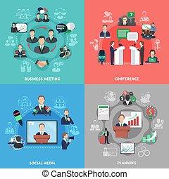 reunião, conceito, desenho, negócio