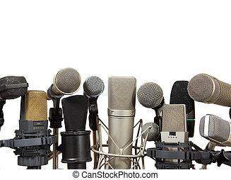 reunião conferência, microfones, branco, fundo