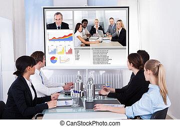 reunião conferência, vídeo, businesspeople, negócio