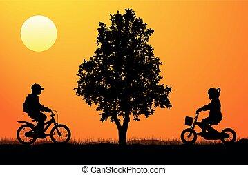 reunião, de, crianças, ligado, bicycles, perto, um, árvore, em, pôr do sol, silueta, vetorial
