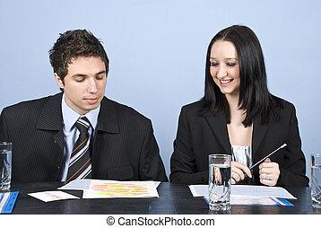 reunião, dois, pessoas negócio