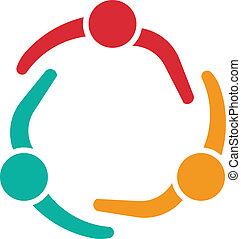 reunião equipe, 3, desenho, logotipo