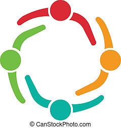 reunião equipe, 4, desenho, logotipo