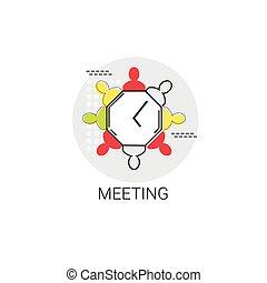 reunião equipe, brainstorm, negócio, ícone