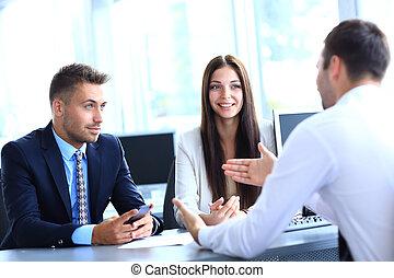 reunião, escritório negócio