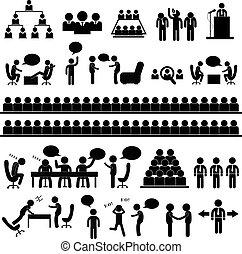 reunião, falando, símbolo