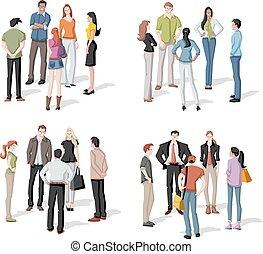 reunião grande, grupo, pessoas