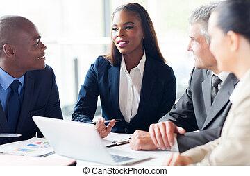 reunião, grupo, businesspeople, tendo