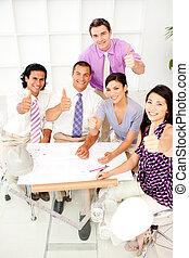 reunião, grupo, cima, arquitetos, polegares