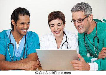 reunião, grupo, doutores