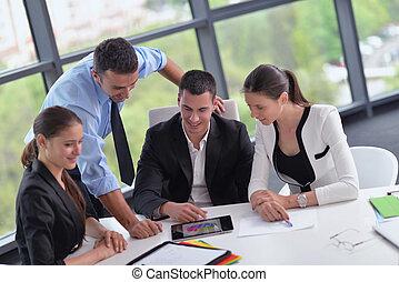 reunião, grupo, escritório negócio, pessoas