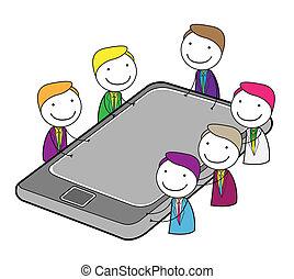 reunião, grupo, online