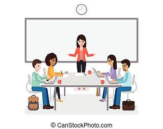 reunião, homens negócios, mulheres negócios