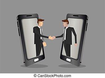 reunião, ilustração, borderless, conceito, virtual, negócio, vetorial