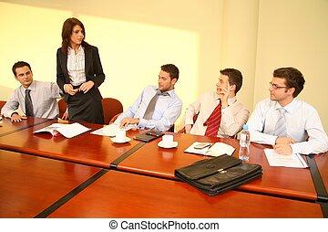 reunião informal negócio, -, mulher, saliência, fala