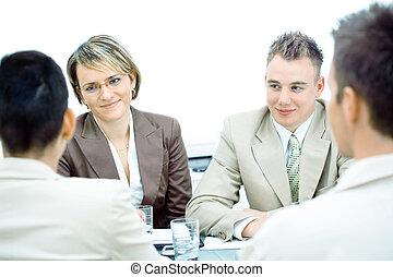 reunião, isolado, negócio