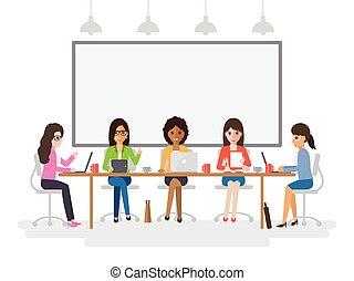 reunião, jovem, mulheres negócios